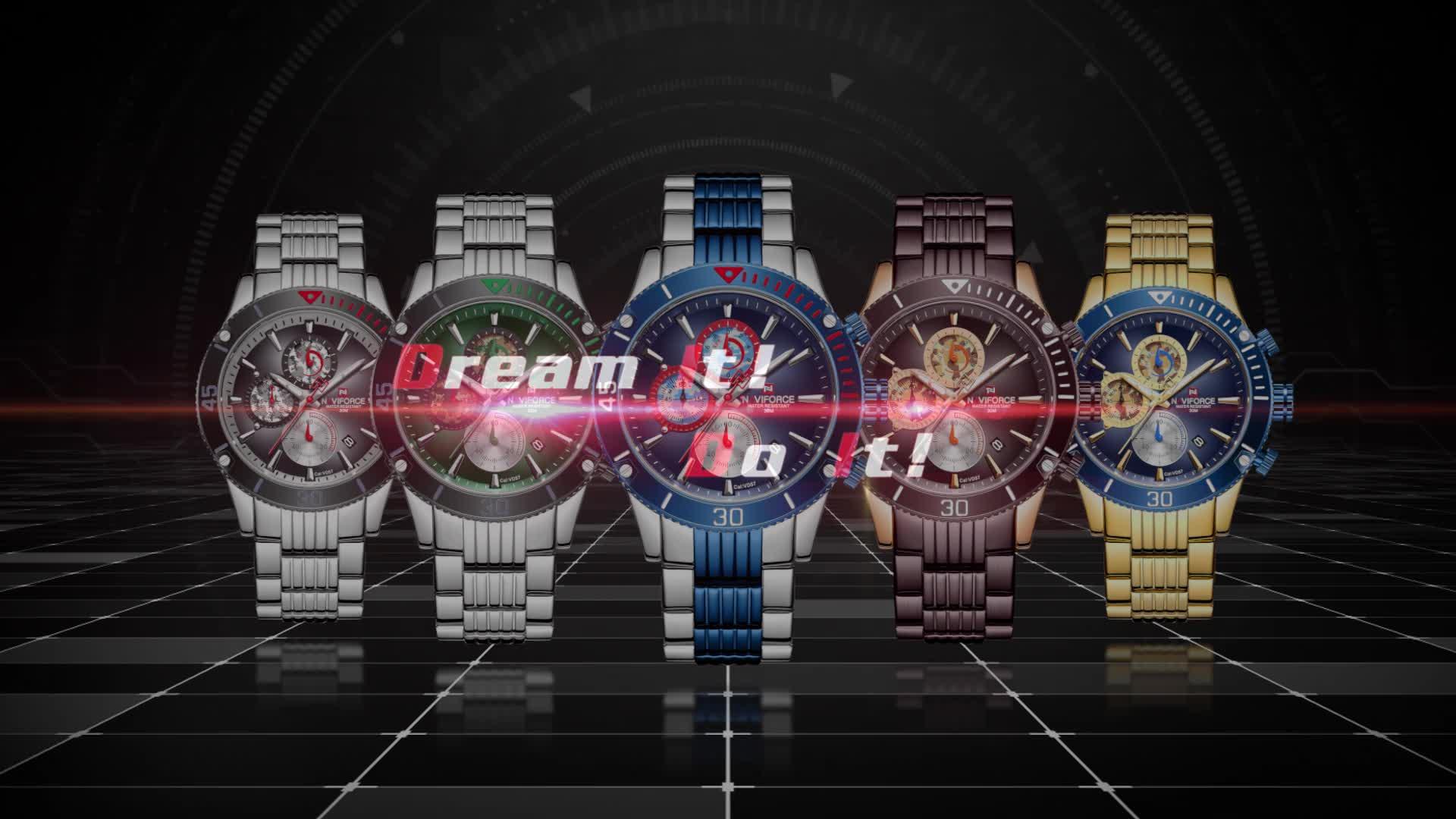 2020 neue Chronograph Wasserdicht Quarz Männer Uhr Armbanduhren NAVIFORCE 9173 Sport