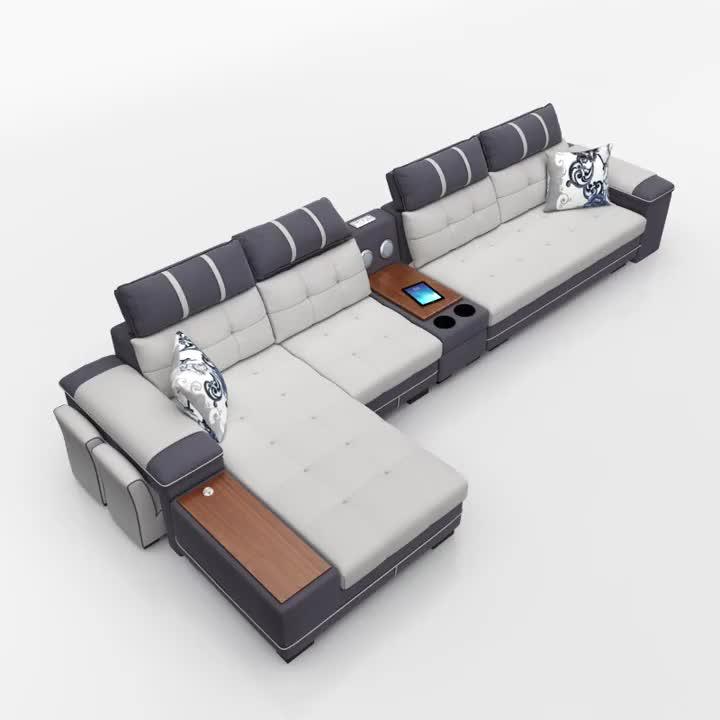 Новая модель функциональная PU текстильное мягкое кресло Подголовник регулировка угловой диван мультимедийная Функция Домашний диван