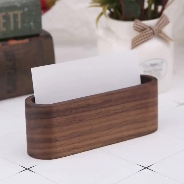 Luxury Wooden Office Desk Accessories  Business Card Holders  Display Device Card Stand Holder