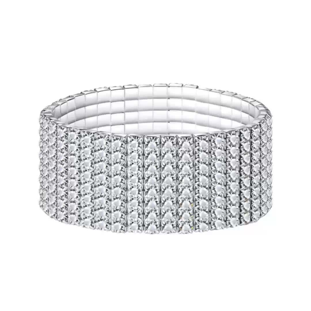2018 Fashion Alloy Material Wide 4 6 8 Raw Stretch Wedding Rhinestone Bracelet