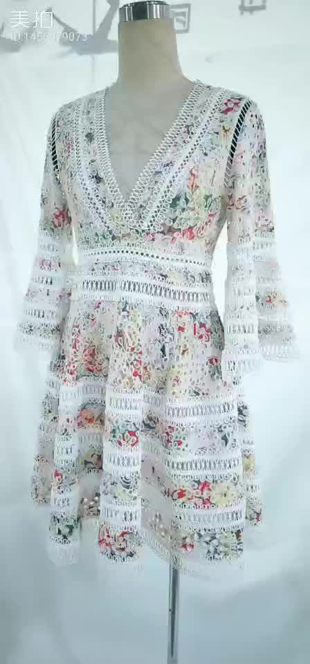 OEM & ODM good quality hollow out patchwork embroidery bohemian lace dress