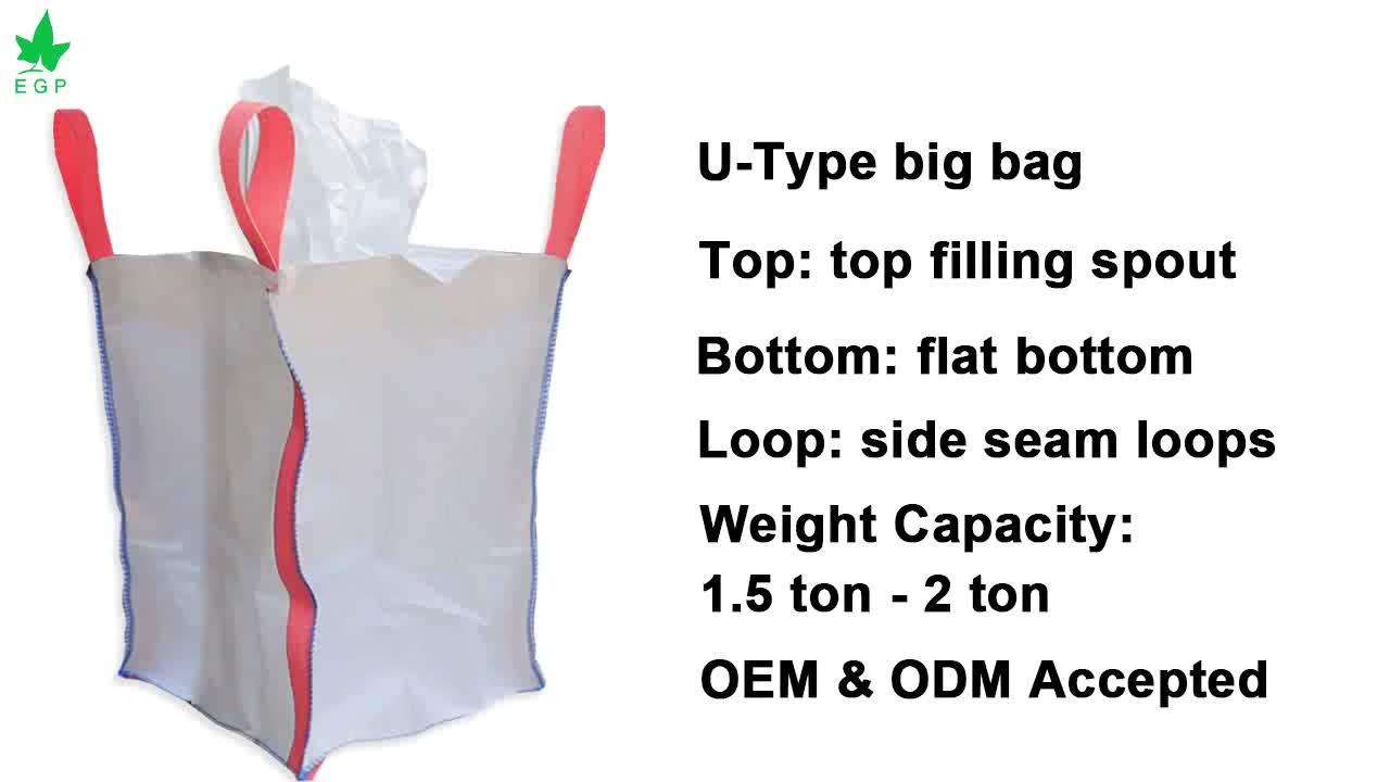 Egp 1 Ton Print Logo Bulk Bag Fibc Pp Jumbo Big Bag 1000Kg 1500Kg