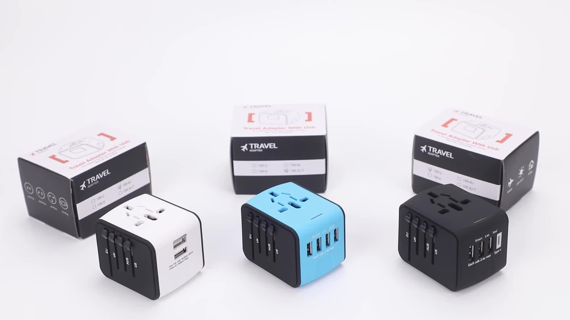 4 in 1 adapter travel Universal power adapter travel converter au eu uk adaptor plug dengan usb travel adapter