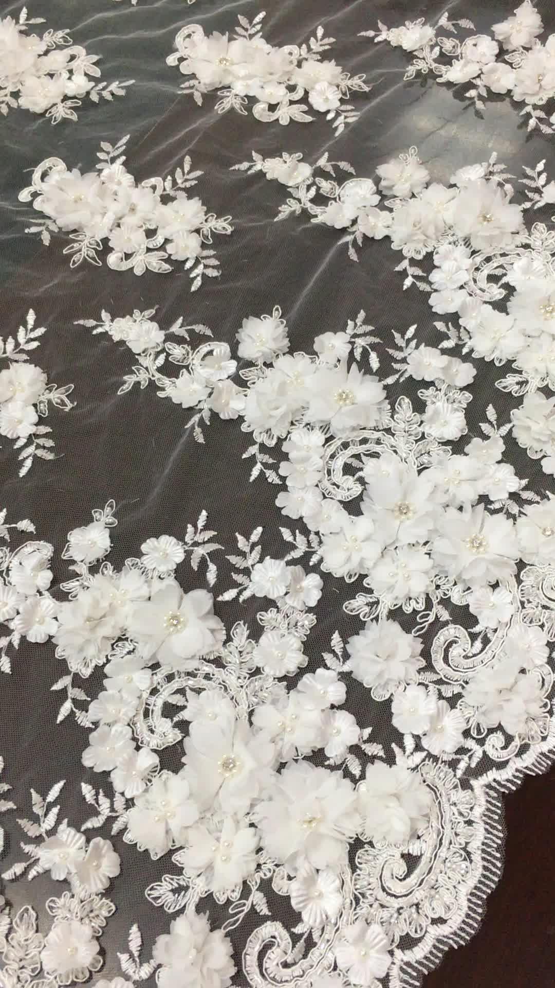 Mejor Venta de 3d de encaje de cordón de tela con cuentas de encaje bordado con flores apliques y piedras para vestido de boda