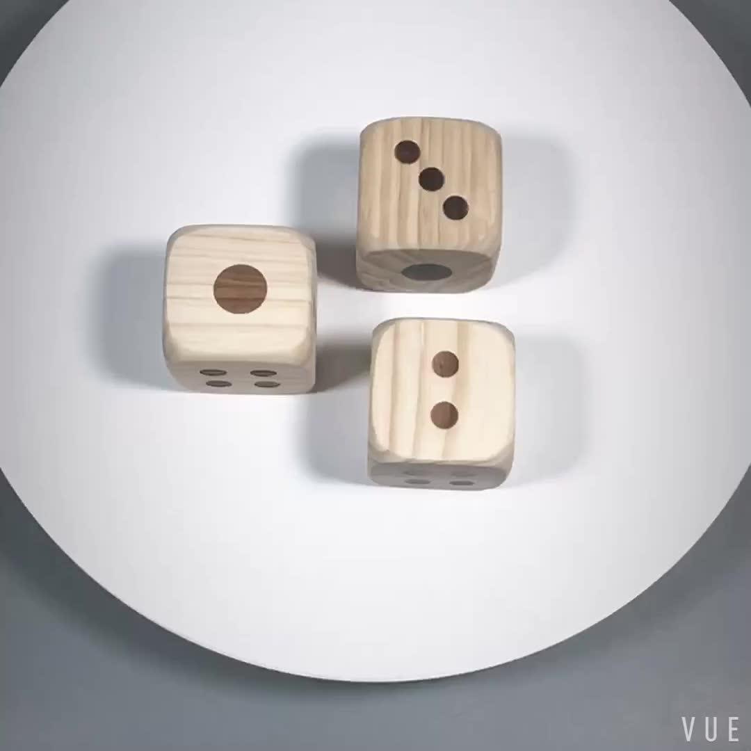 Popular yard game varnished big wooden dice set