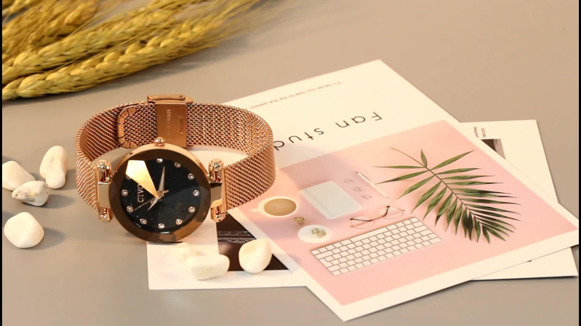 CIVO Moda Lüks Bayanlar kristal saat Su Geçirmez Gül Altın çelik ızgara Kuvars Kadın Saatler Top Marka Saat Relogio Feminino