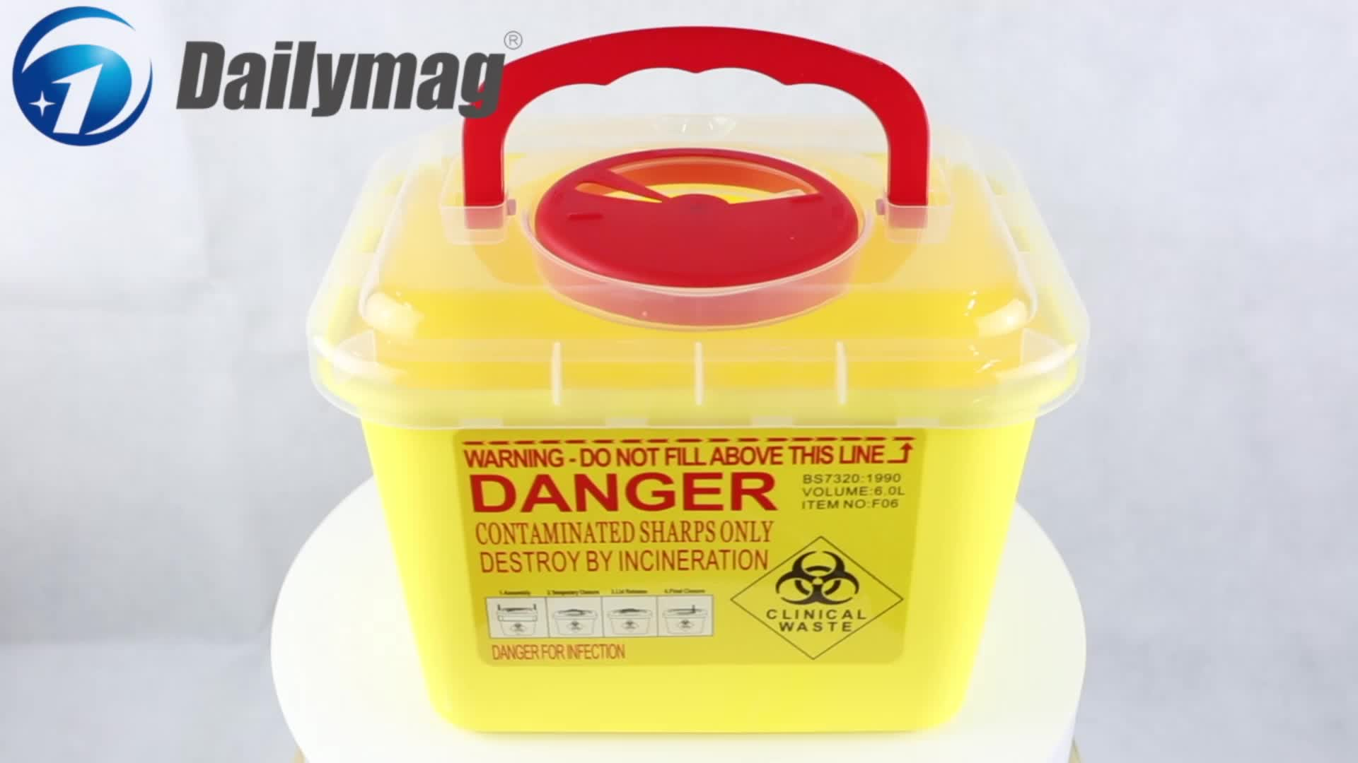 Plastic PP Made Biohazard Medical Container with Secure Lock and Handle