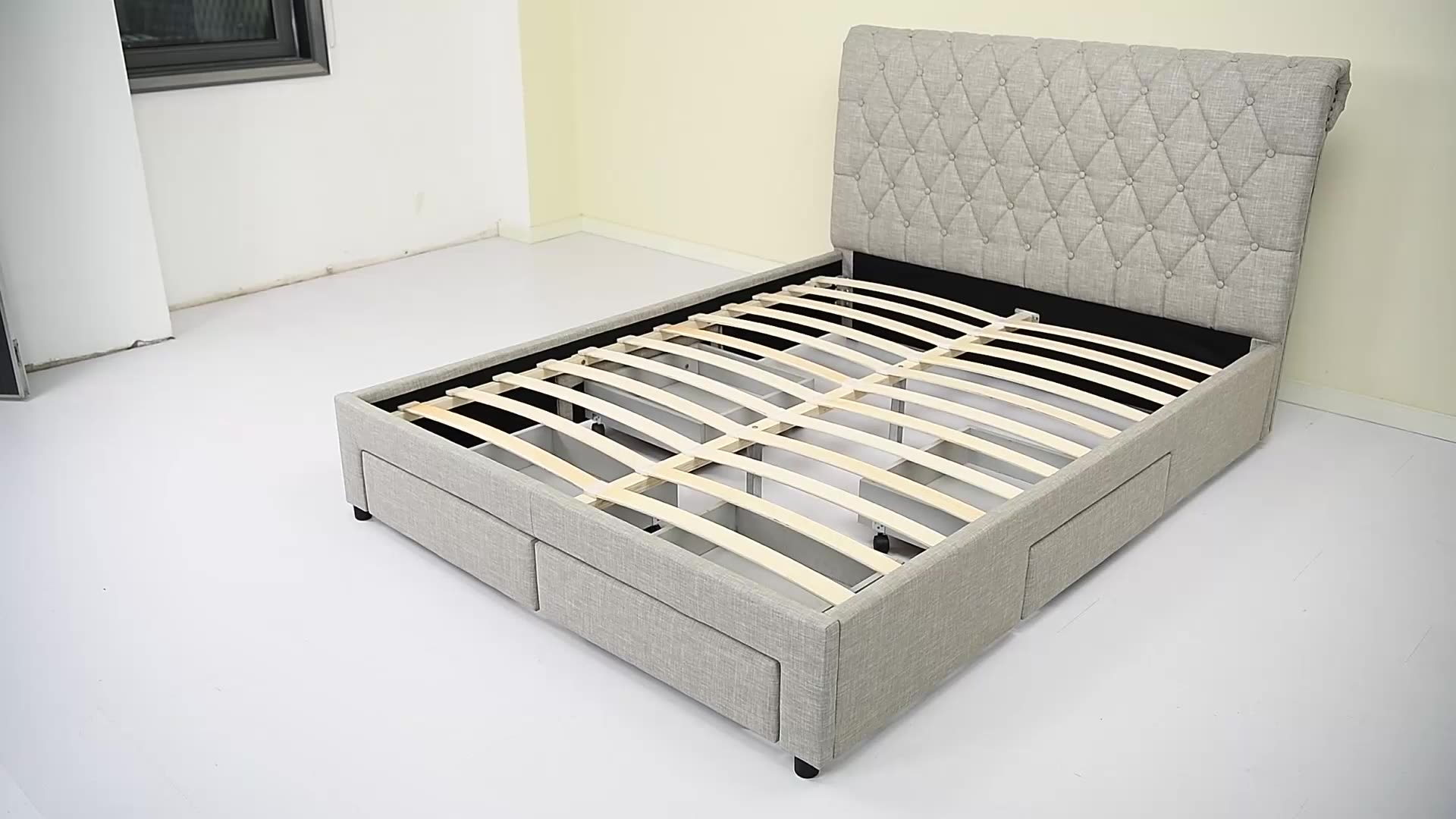 1217D Modern&Luxury European Design Velvet Fabric King Size storage Bed Frame with Sleigh&Rhombus Headboard and four drawers