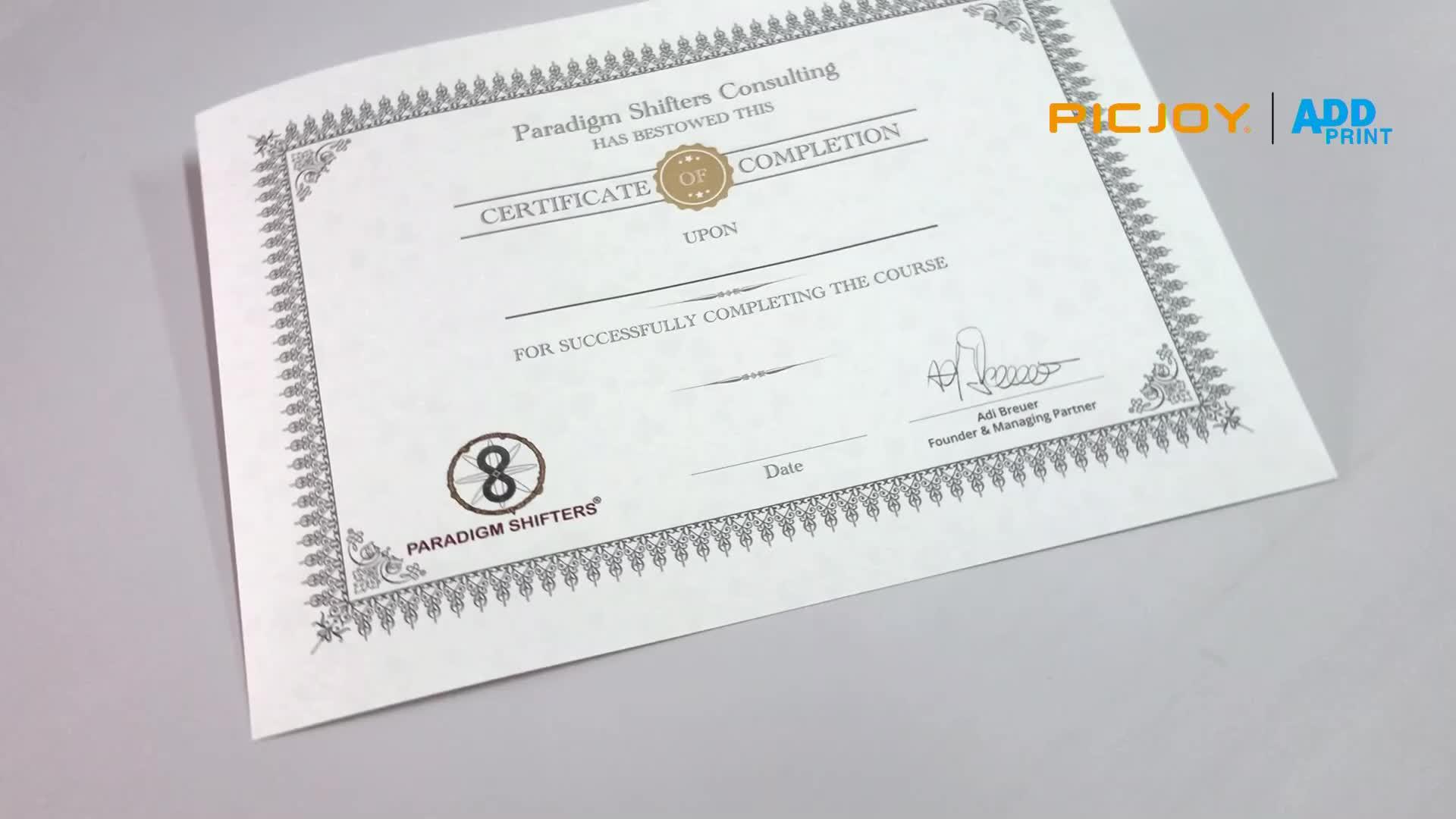 A4 boyutu 210 * 297mm kaplı doku sanat kağıt tamamlama sertifikası baskı shanghai