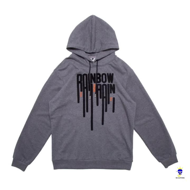 Winter New Mens Pullover Loose Letters Towel Embroidery Hoodie Grey