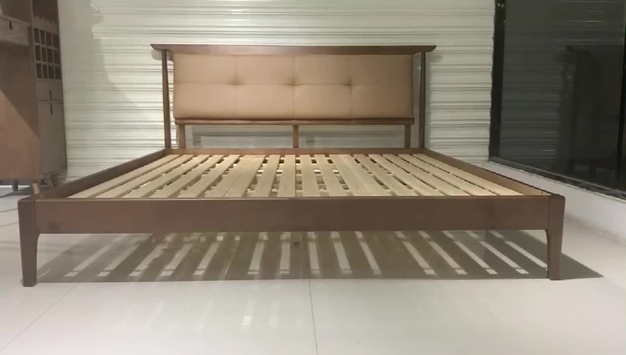 Bedroom Furniture Set Double Bed Leather Headboard Bed
