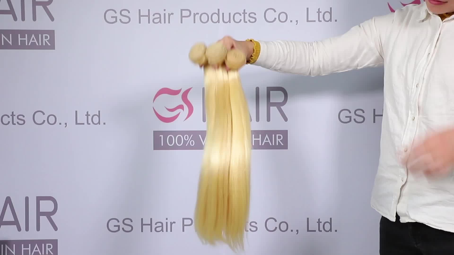 도매 금발 613 버진 인간의 머리 확장 613 큐티클 정렬 버진 헤어 번들, 40 인치 금발 머리 묶음