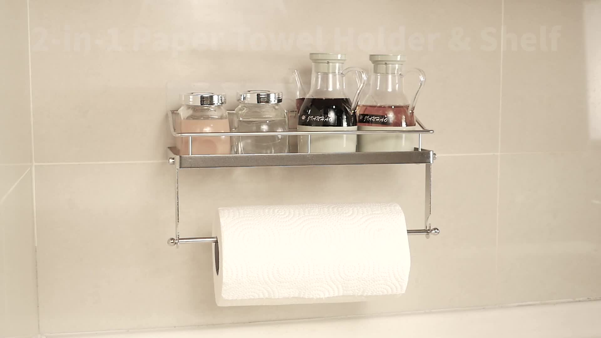 Adhesive Stainless Steel Paper Towel Holder With Shelf