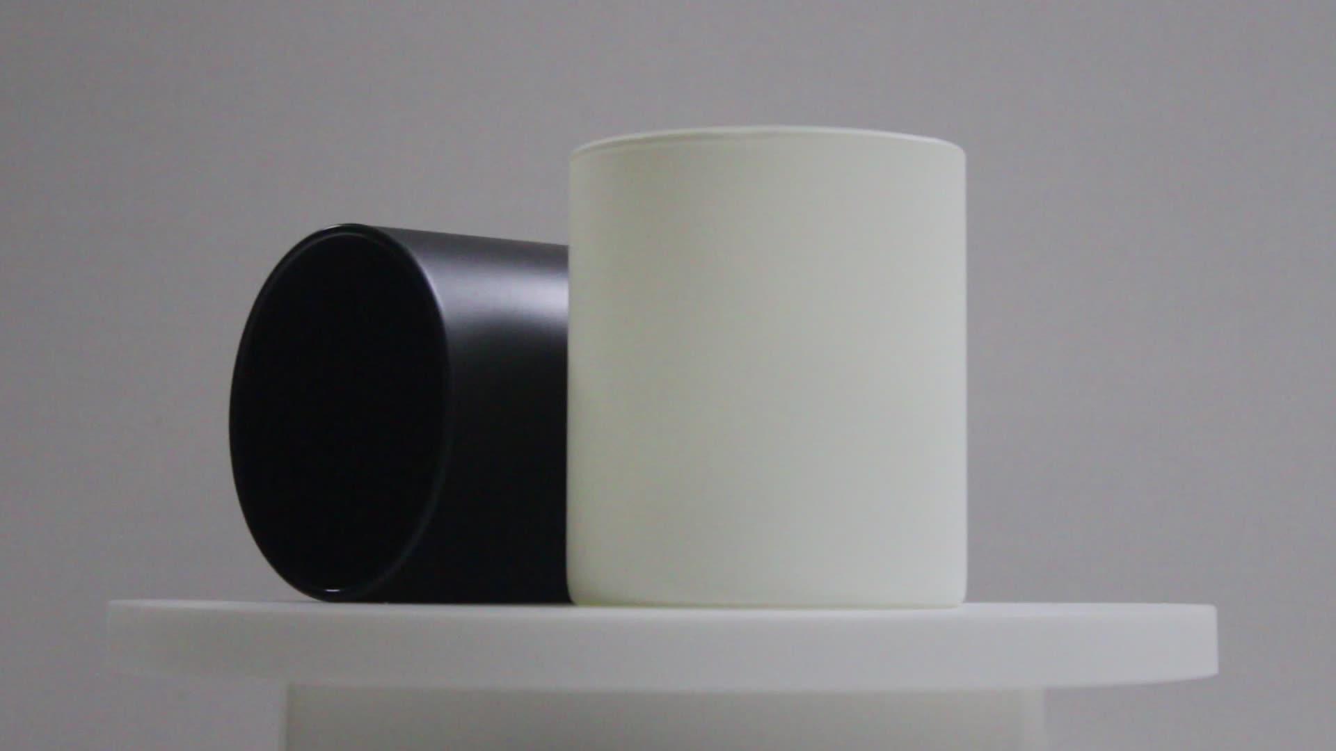 Hot Koop Frosted Zwart Wit Glas Kaars Jar Kaars Houder Groothandel