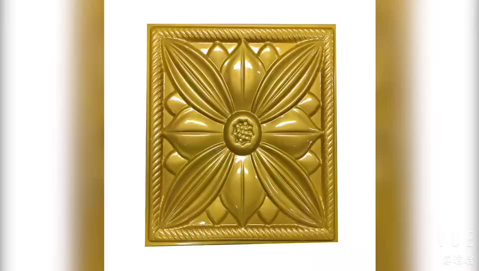 """11 7/8""""W x 11 7/8""""H Embossed gold flower Decorative 3D Wall Panel for household"""