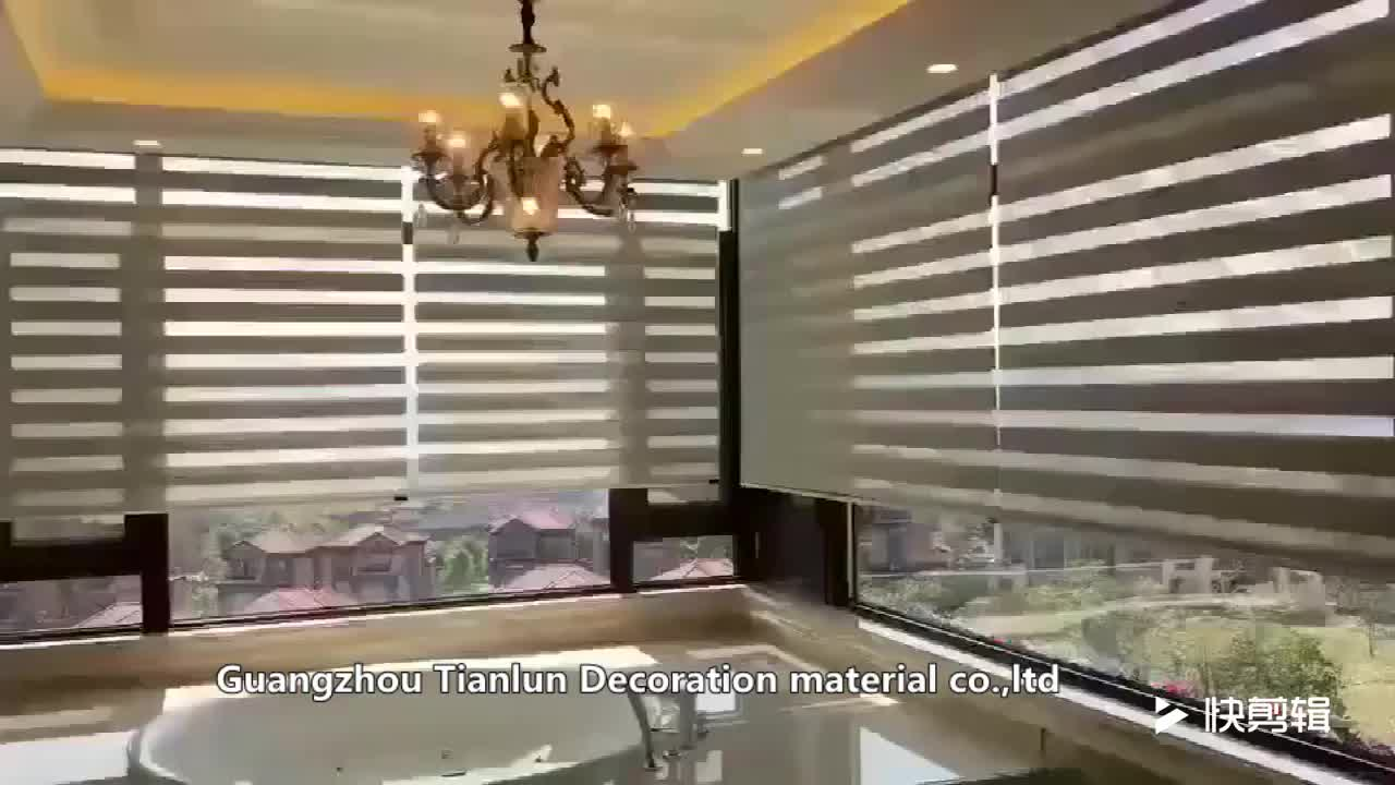 100% Blackout Fabric Motorized Roller Curtain Zebra Blinds For Home Decoration