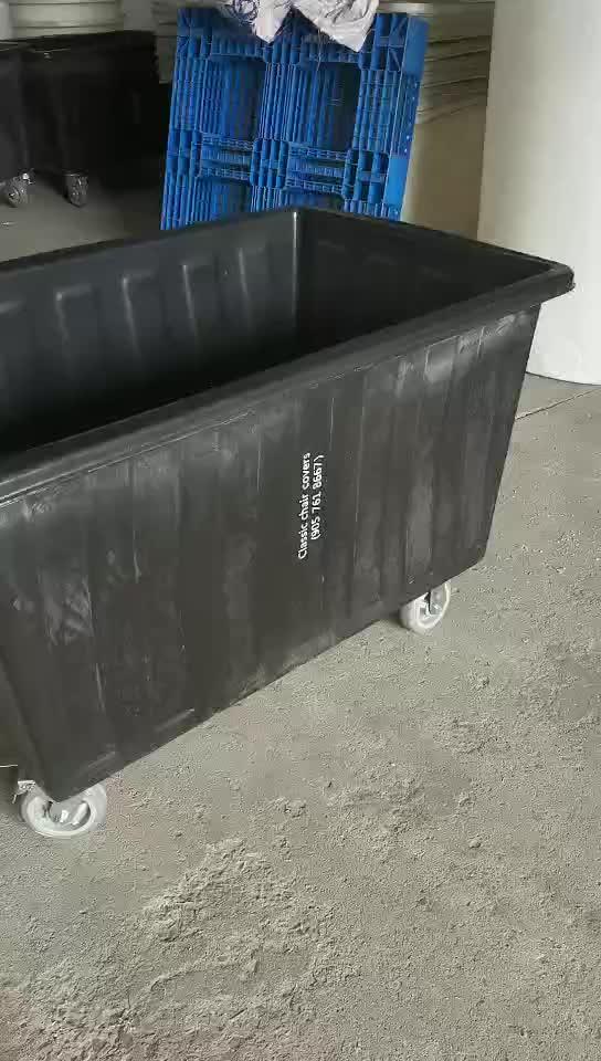 Plastikmobil benutzte Hotelgepäckwagen-Wäschewannenwagen auf Rädern mit Deckel