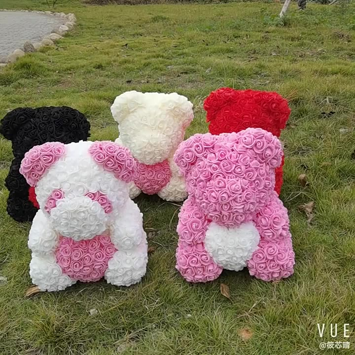 Valentines Day Gift 25cm Red Rose Teddy Bear Rose Flower Artificial Decoration Christmas Gifts Women Valentines Gift
