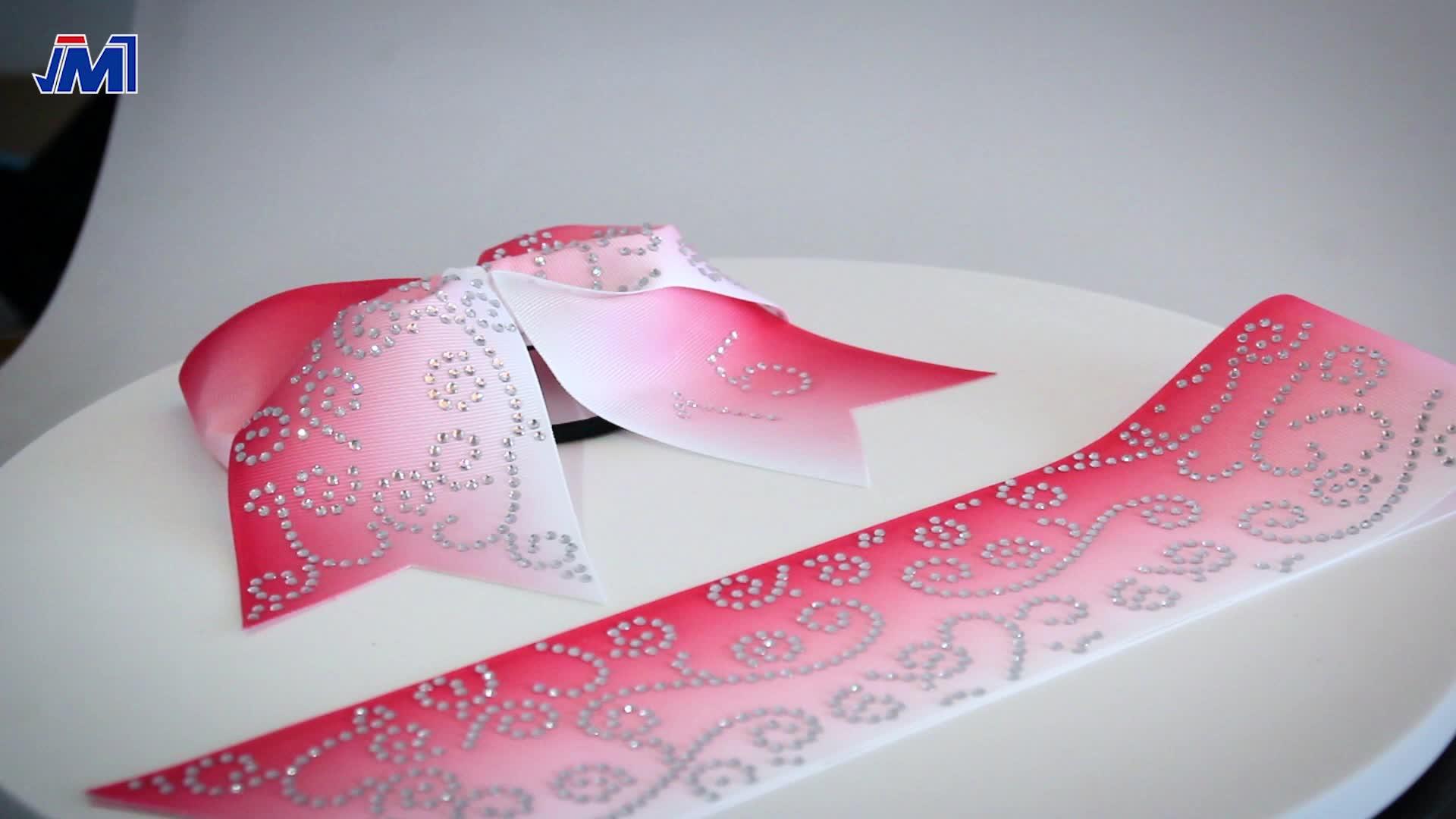 Pink cheer bows with breast cancer awareness rhinestone ribbon