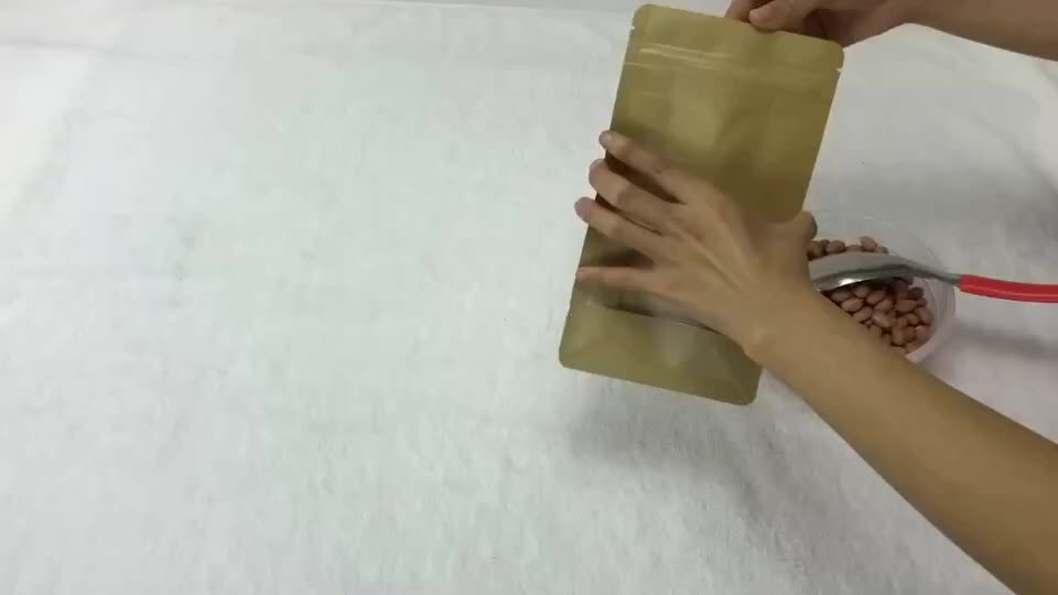 paper material food industrial use stand up zipper pouch kraft paper bag