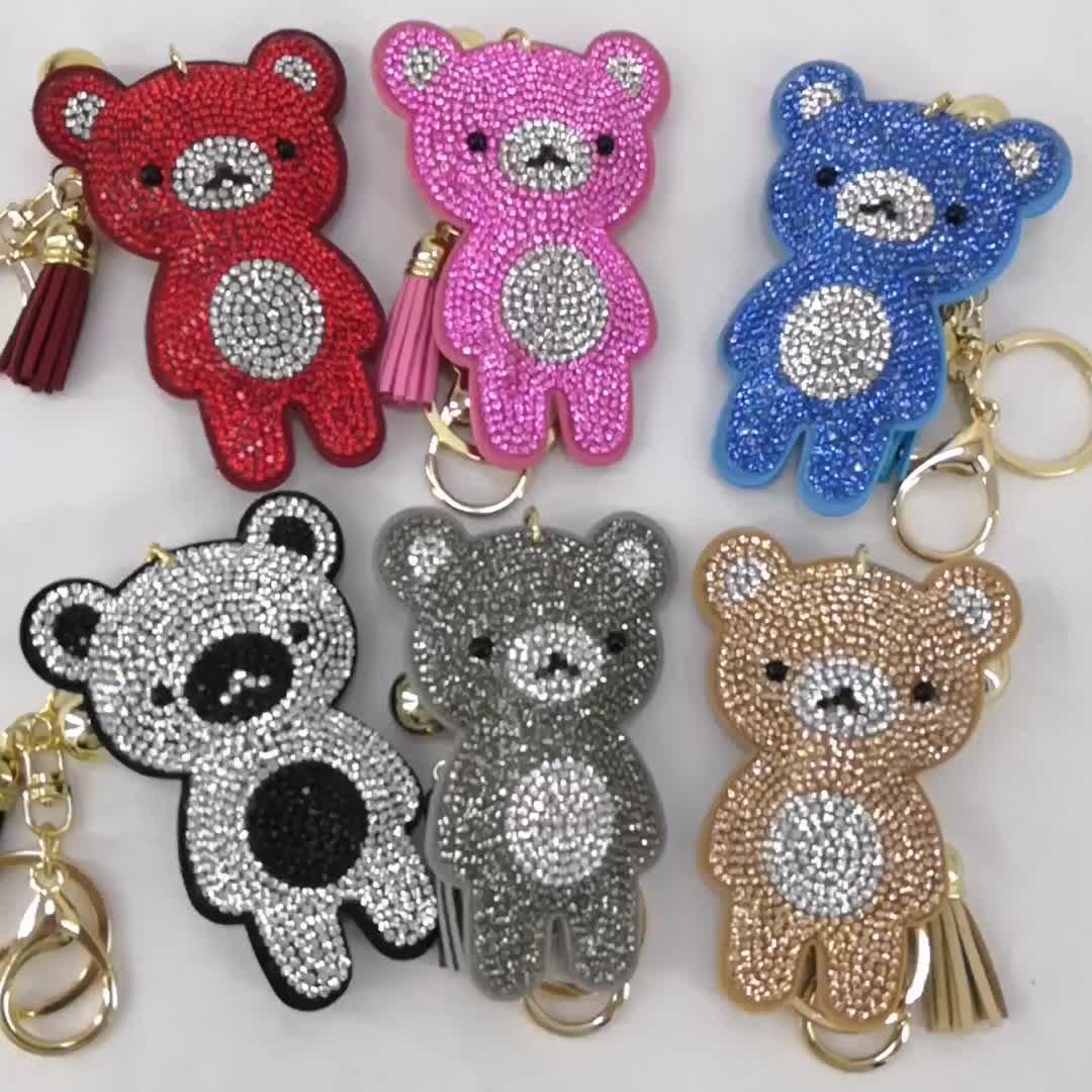 هدية جميلة للأطفال من Yongze سلسلة مفاتيح على شكل دب من حجر الراين سلسلة مفاتيح ماسية رخيصة
