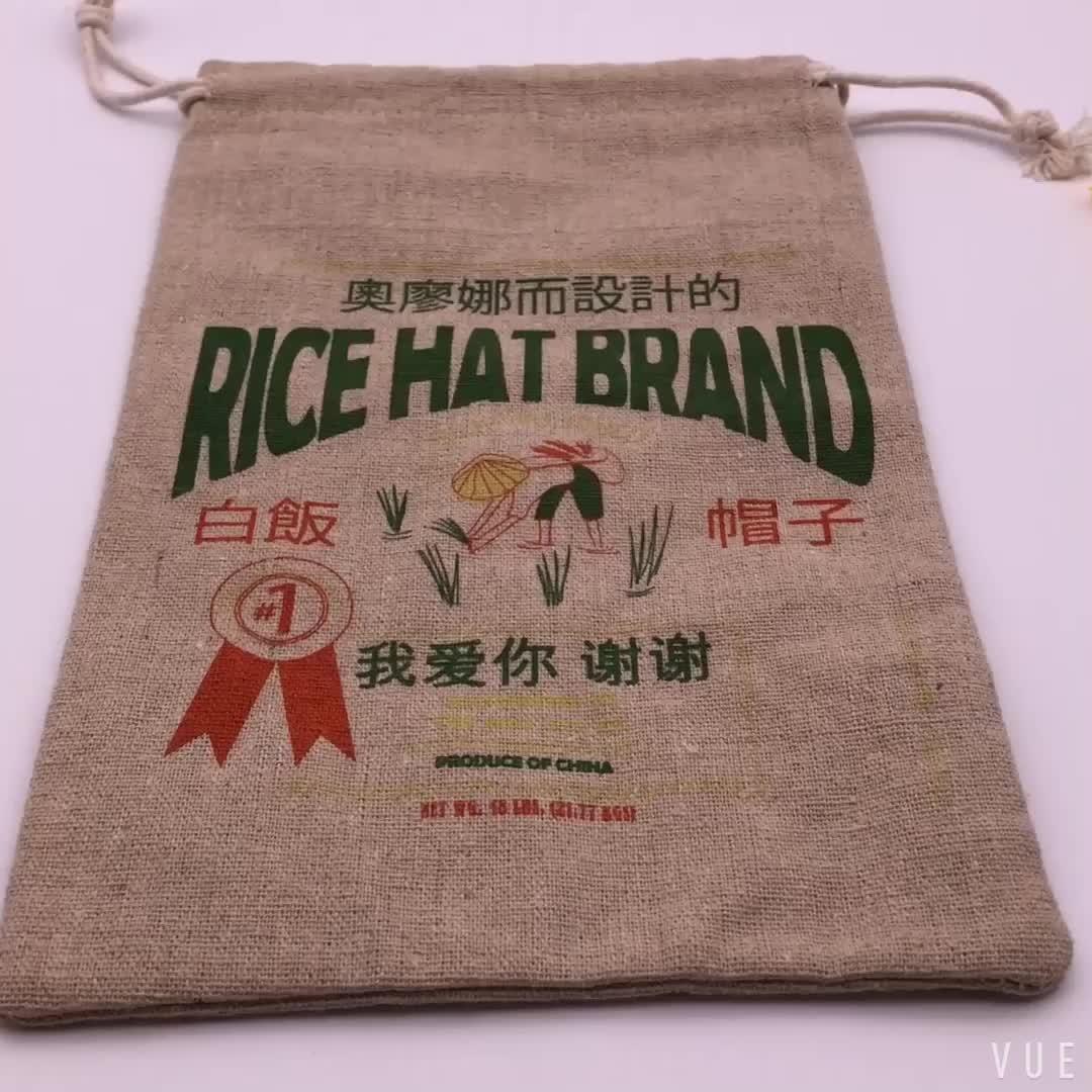 Ucuz renkli baskılı jüt İpli çanta için şapka