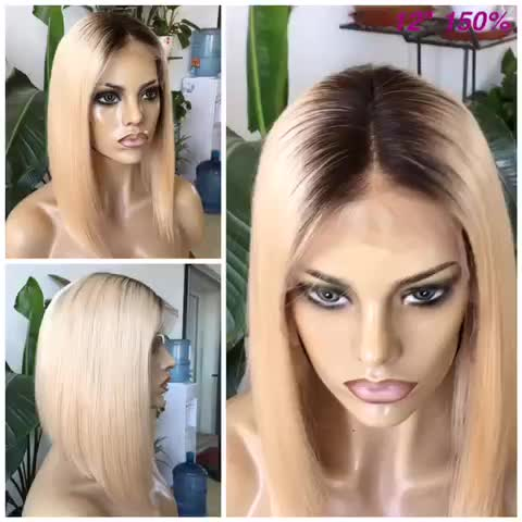 Joywigs stock 12inch 130% density 3#/613# ombre color remy short blonde bob lace front wig for black women