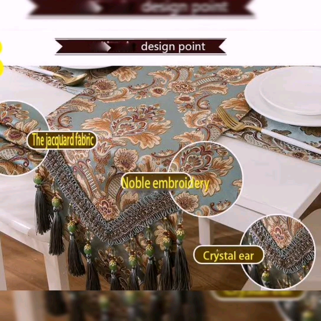 Luxury tassel triangle  Jacquard christmas table runner  for dinning decoration wedding party
