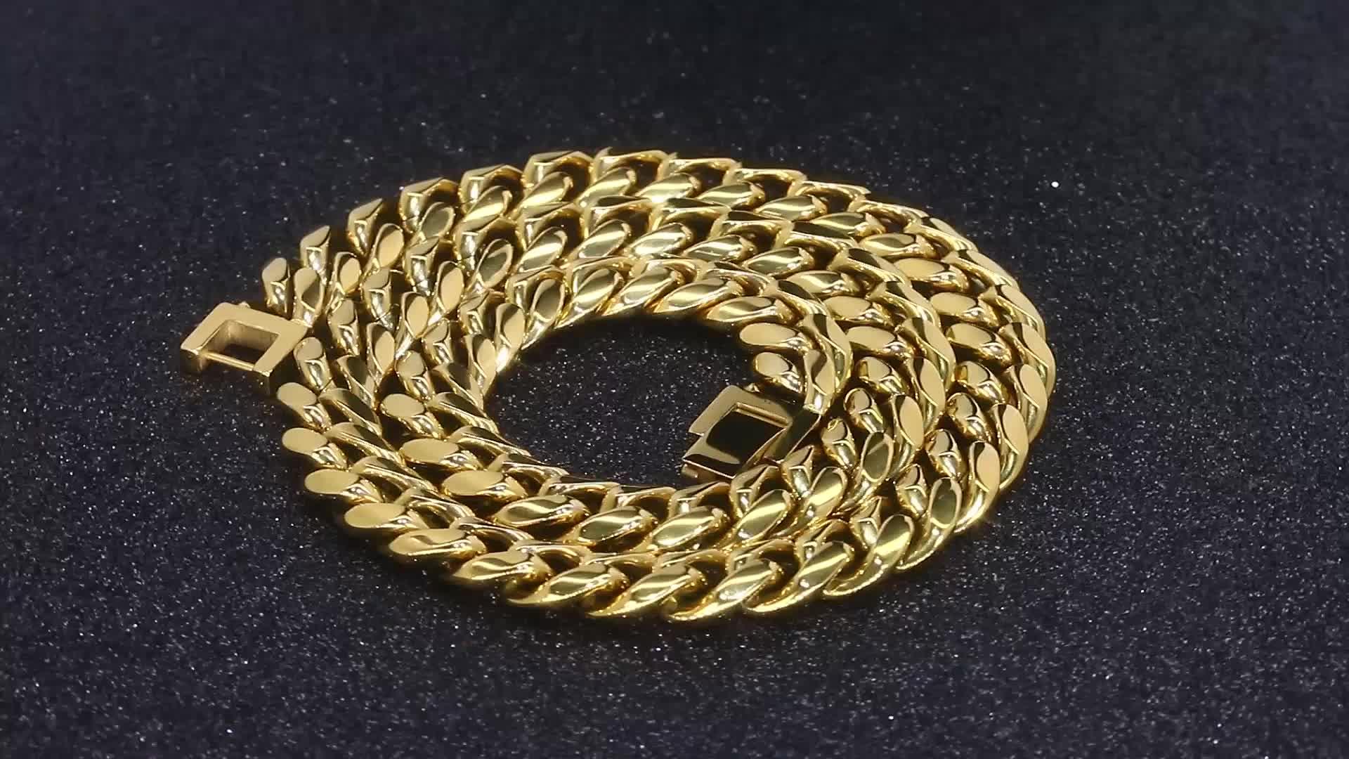 KRKC & CO 10 millimetri in acciaio inox gioielli miami cuban link catena per gli uomini