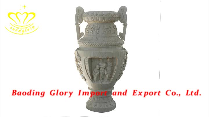 Natural Stone Home Decoration Used China Cheap White Marble Flower Pot