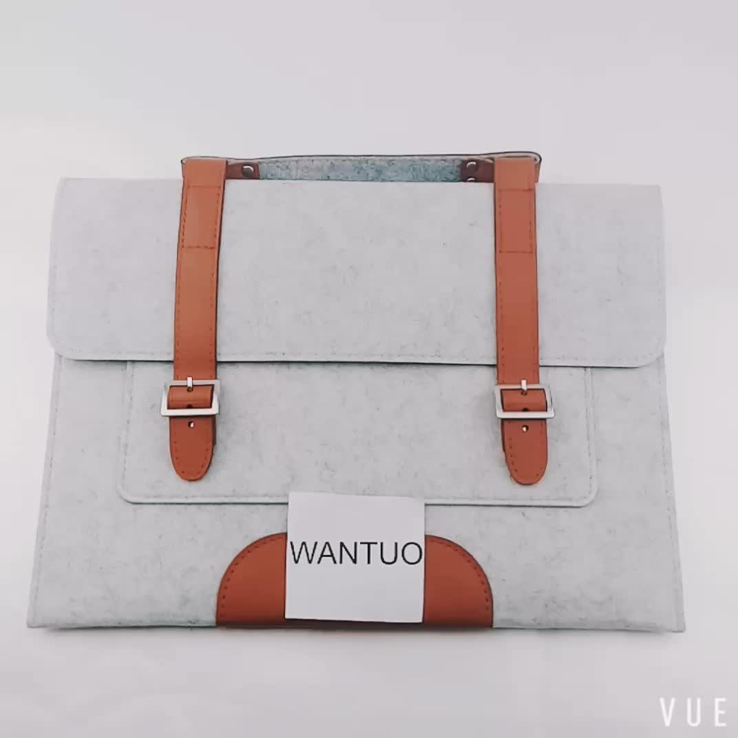 Eco High Quality Custom Logo Soft  Handled Luxury Mens Women 13 15.6 inch Felt  Laptop Bag
