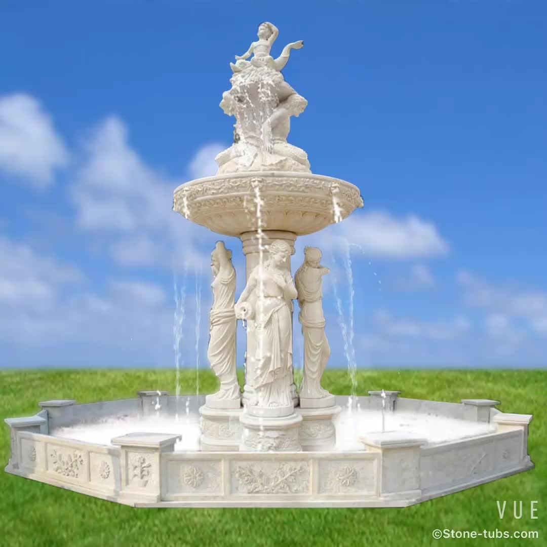Anpassen Garten Wasser Brunnen Statue Weiß Marmor Pferd Brunnen