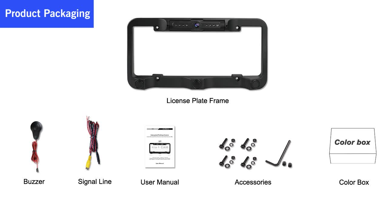 Newest Update car video license plate frame with rear view camera and parking sensor for car