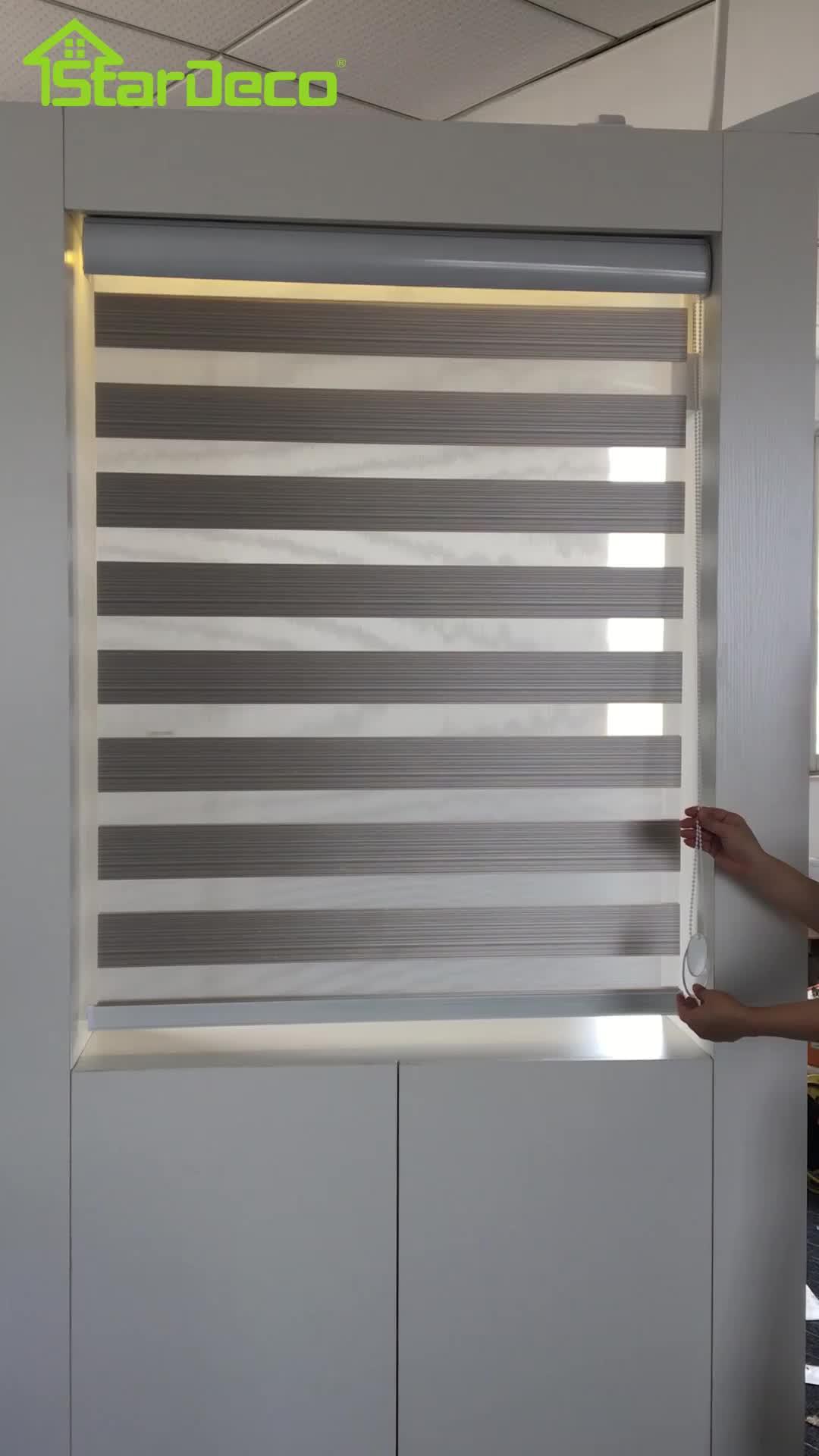 Stardeco blackout double layer zebra european roller blinds of zebra