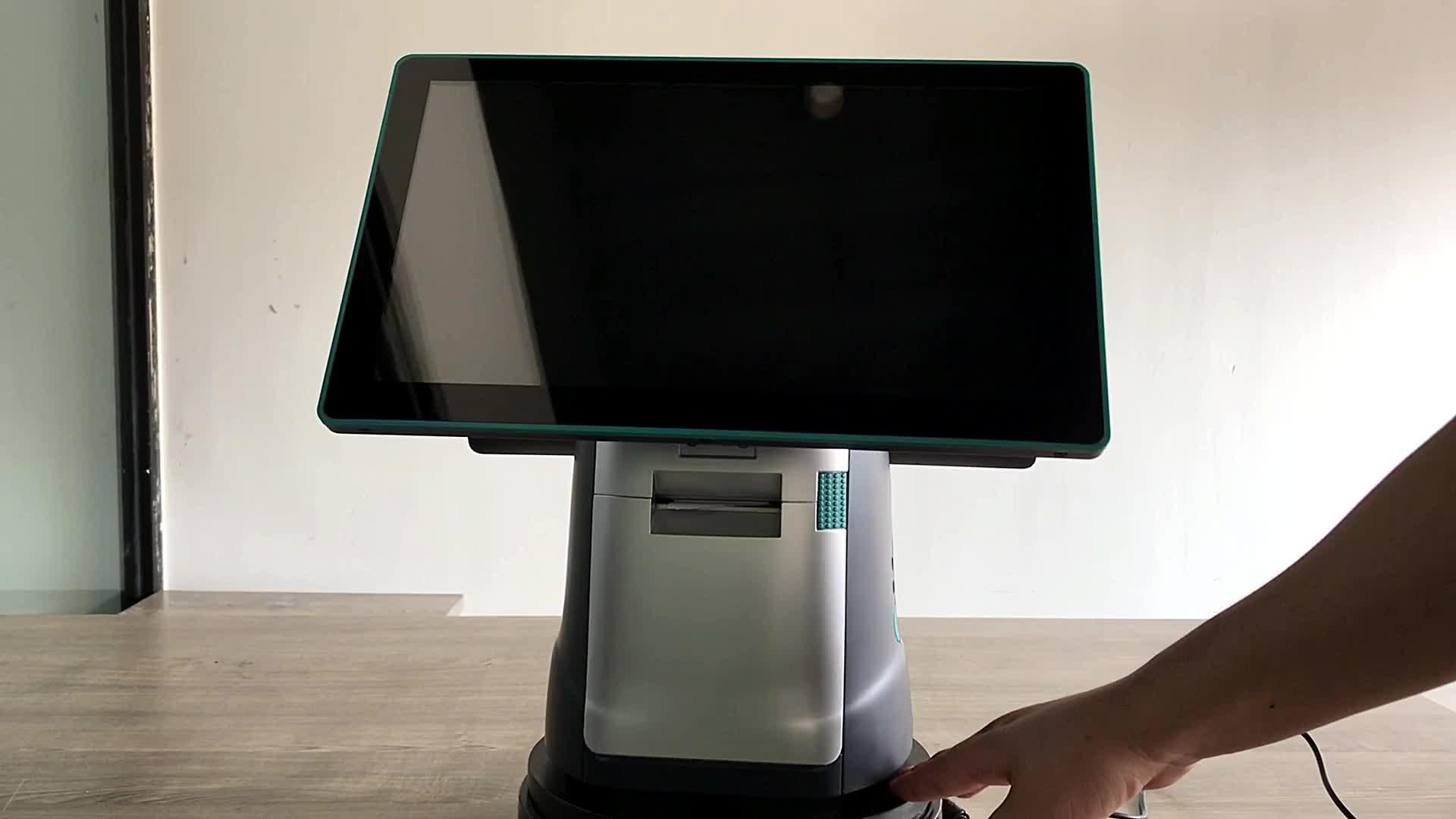 Android quad-core de Punto de Venta de doble pantalla de venta electrónica (epos) Sistema con recibo impresora nfc escáner de código de barras