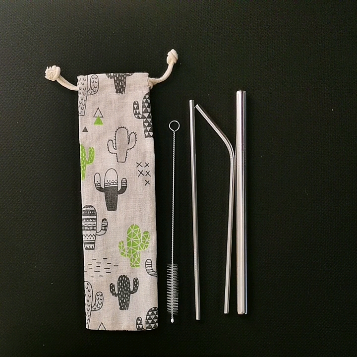 Creative Eco Friendly Drinking Straw With Brush 304 Stainless Steel Straw Set
