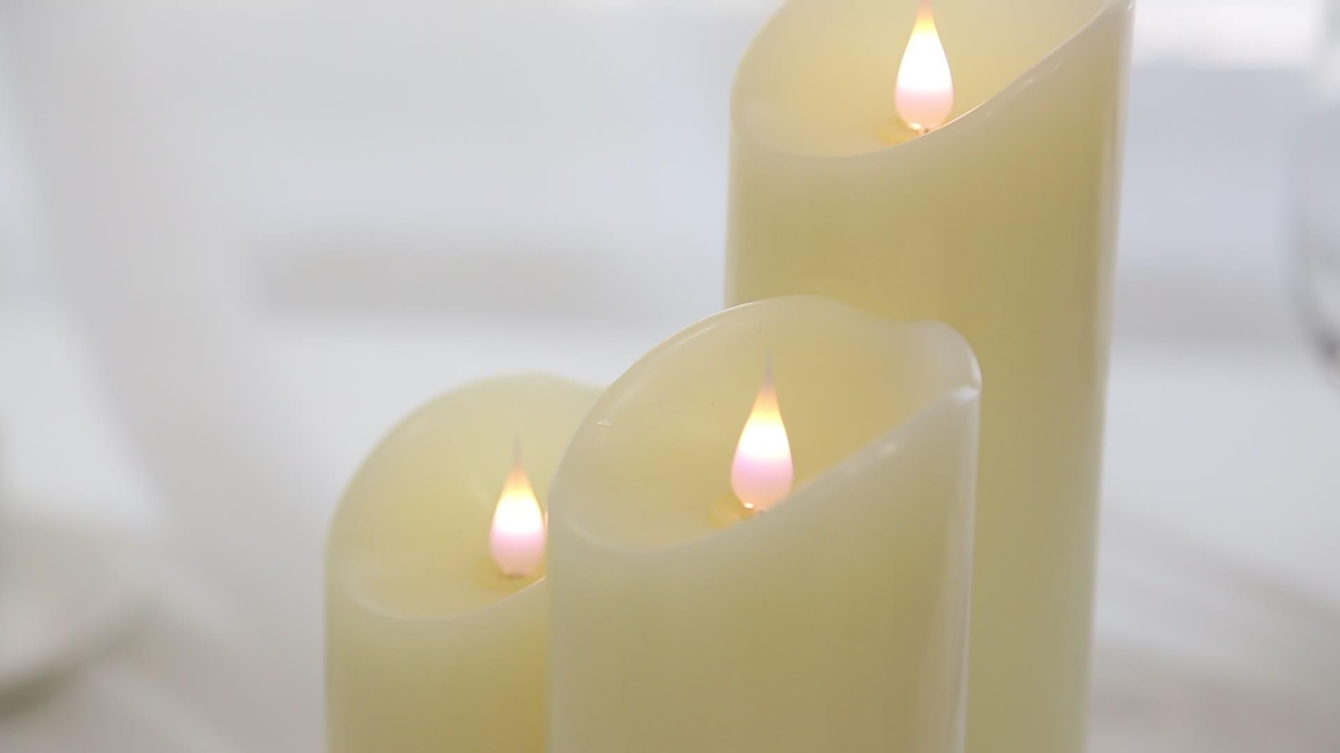 Flameless मोमबत्तियाँ बैटरी संचालित स्तंभ असली मोम चंचल बिजली रिमोट कंट्रोल के साथ मोमबत्ती का नेतृत्व किया