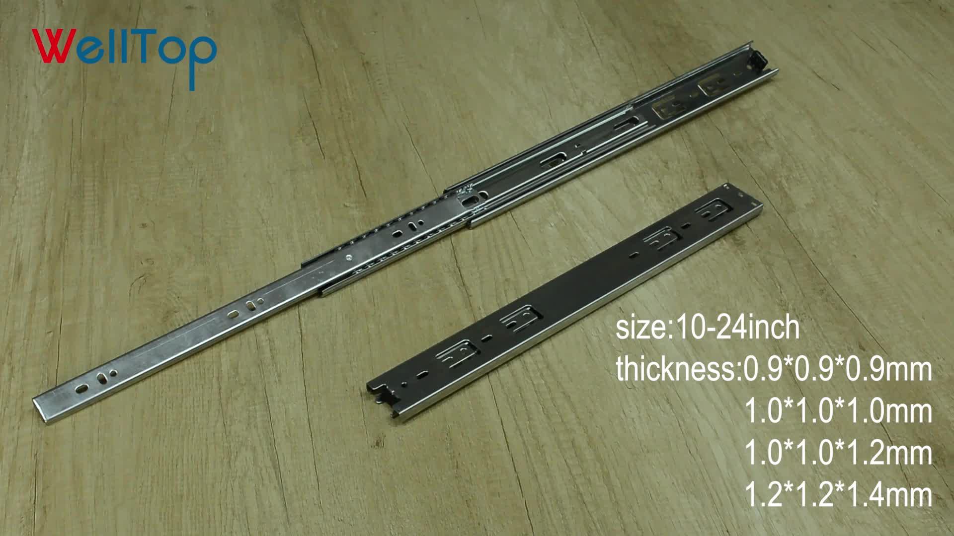 Welltop ハードウェア 45 ミリメートル 10-24 インチ 3 倍フルエクステンションテーブル引き出しスライド VT-15.005