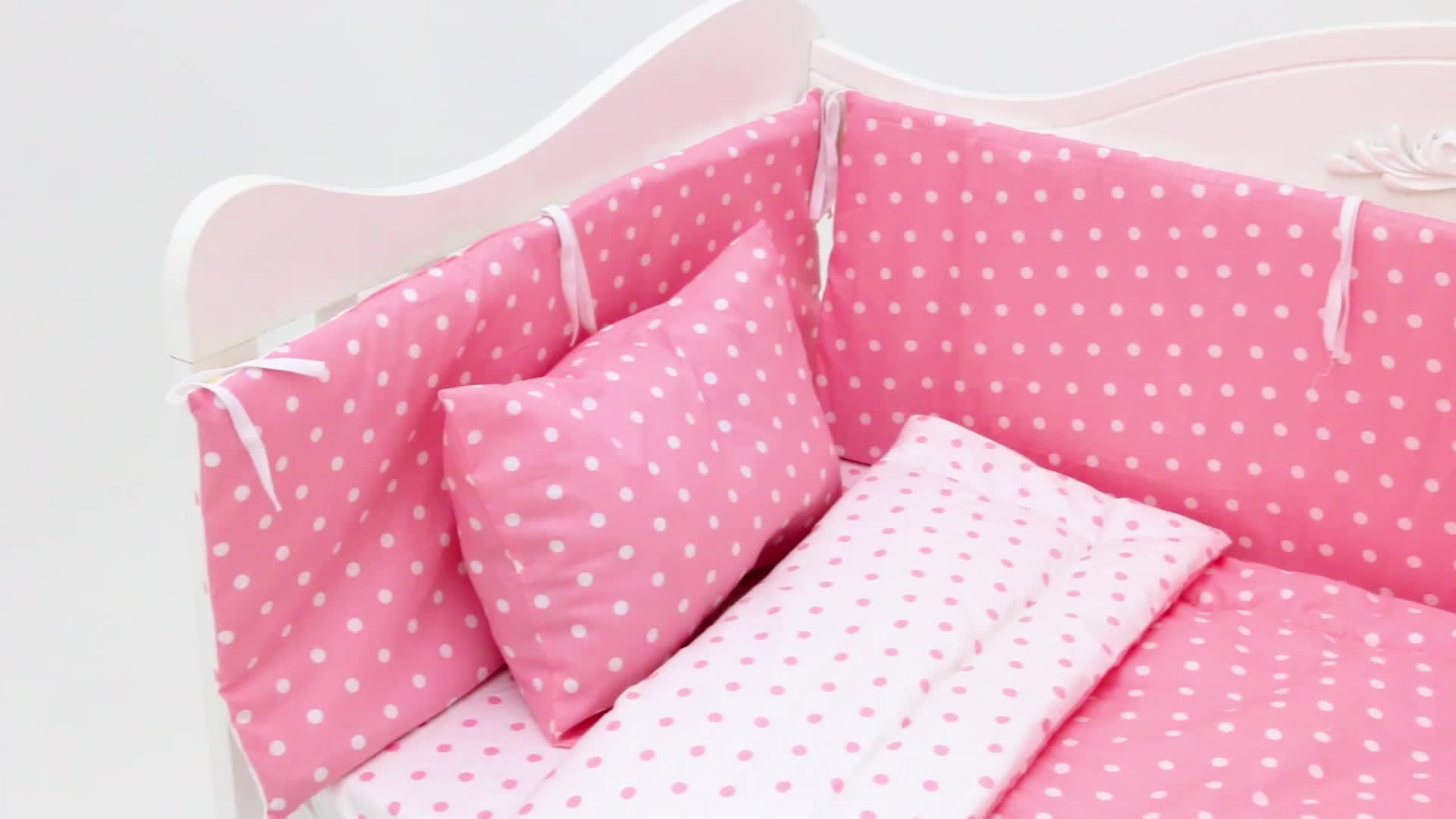 Mới nhất 100% Cotton Hữu Cơ 50 Cái MOQ Baby Girl Crib Bedding Set