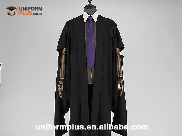 Wholesale premium UK Australia long sleeve black toga master graduation gown