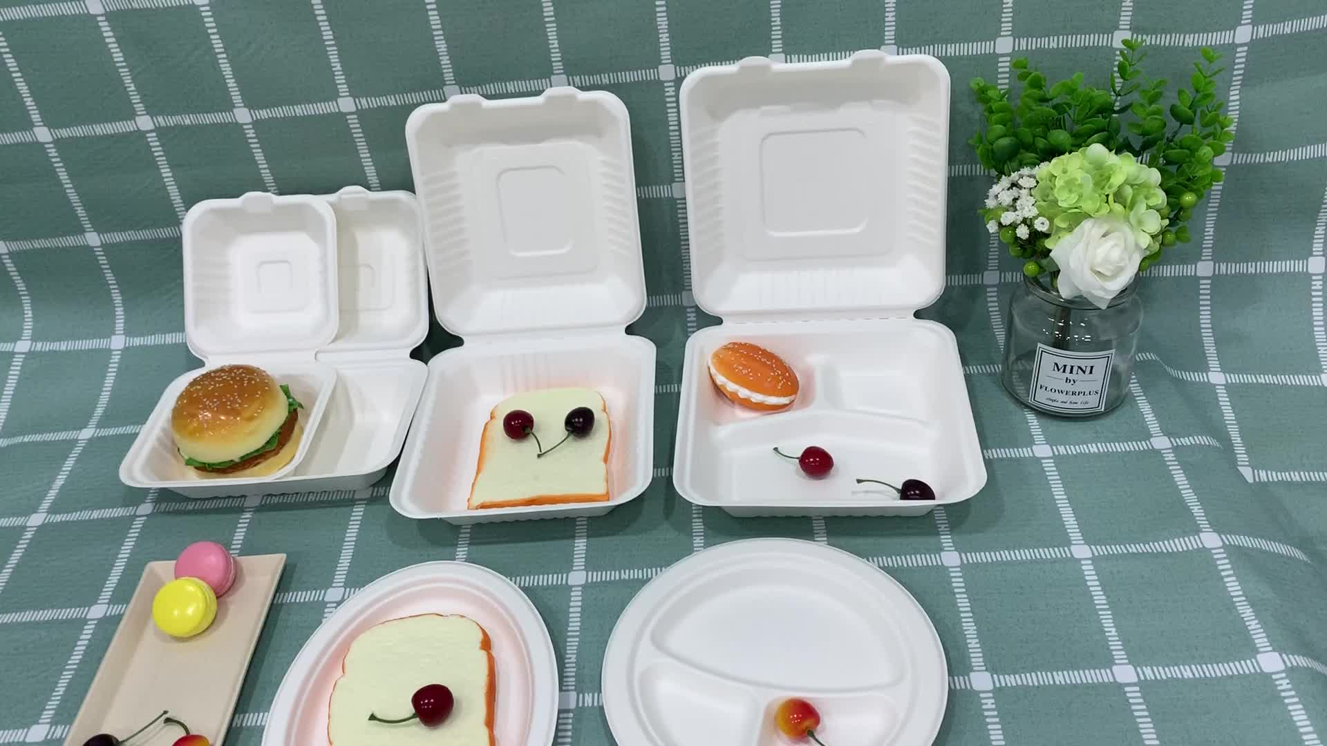 Hot Selling Biodegradable sugarcane bagasse Dinnerware sets Disposable Bamboo Pulp Cheap Dinner Plates