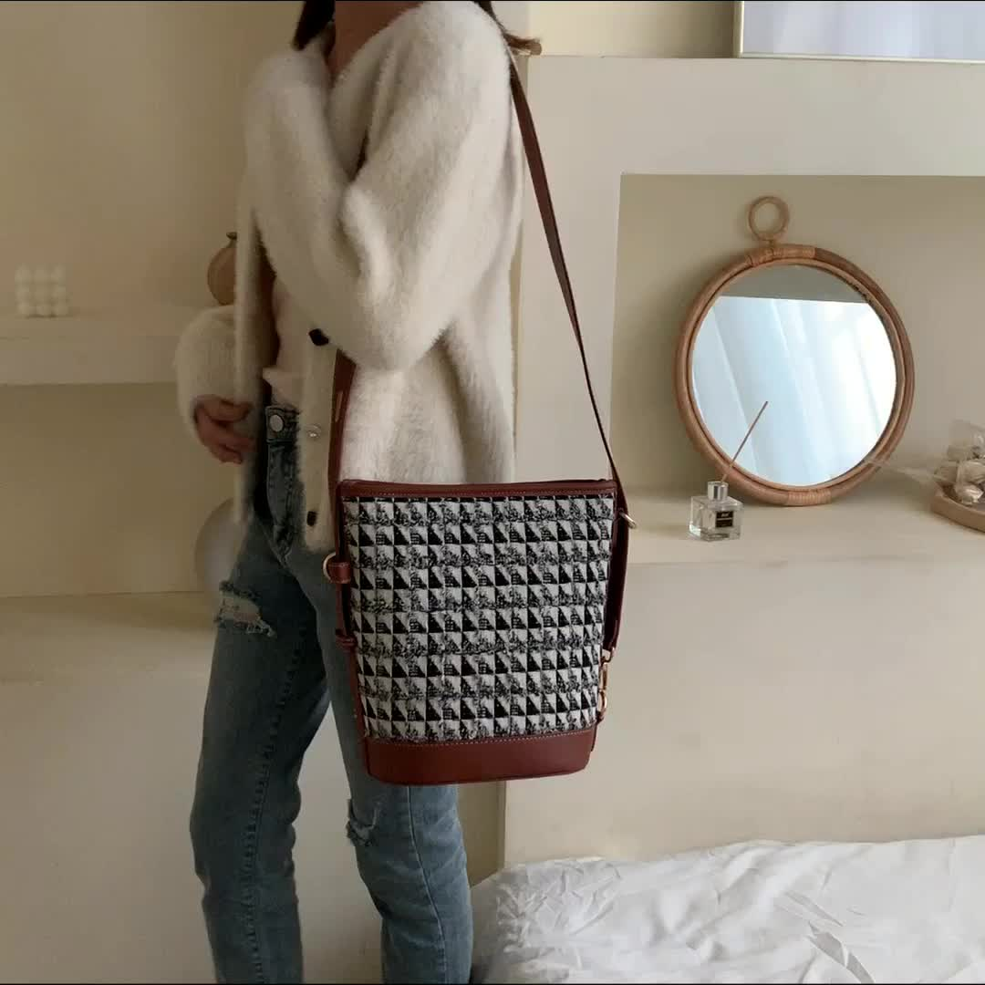 Nuevo Otoño/Invierno 2020 moda europea y americana bolso de tweed tejido bolso cadena uno-hombro bolso lana bolsa para las mujeres