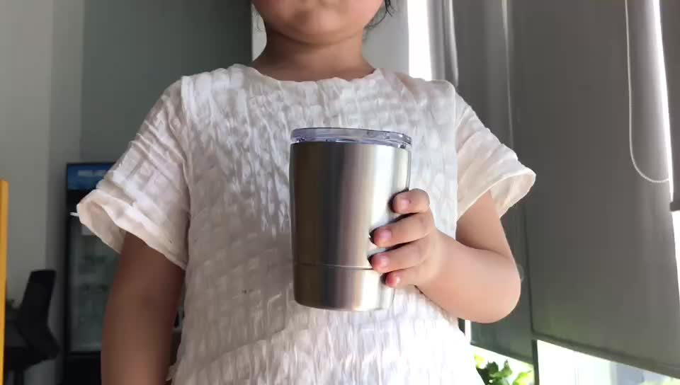 12oz/360ml wholesale Kids Cups Single Wall  Stainless Steel Tumbler Cups Travel Cup  for Children with Lid