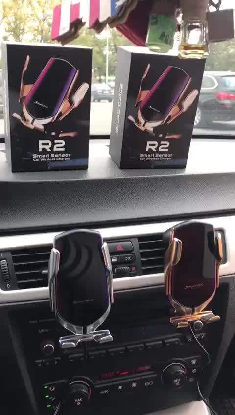 R2 orijinal USB tip C portlu evrensel kızılötesi otomatik kelepçe kablosuz araç araba şarjı