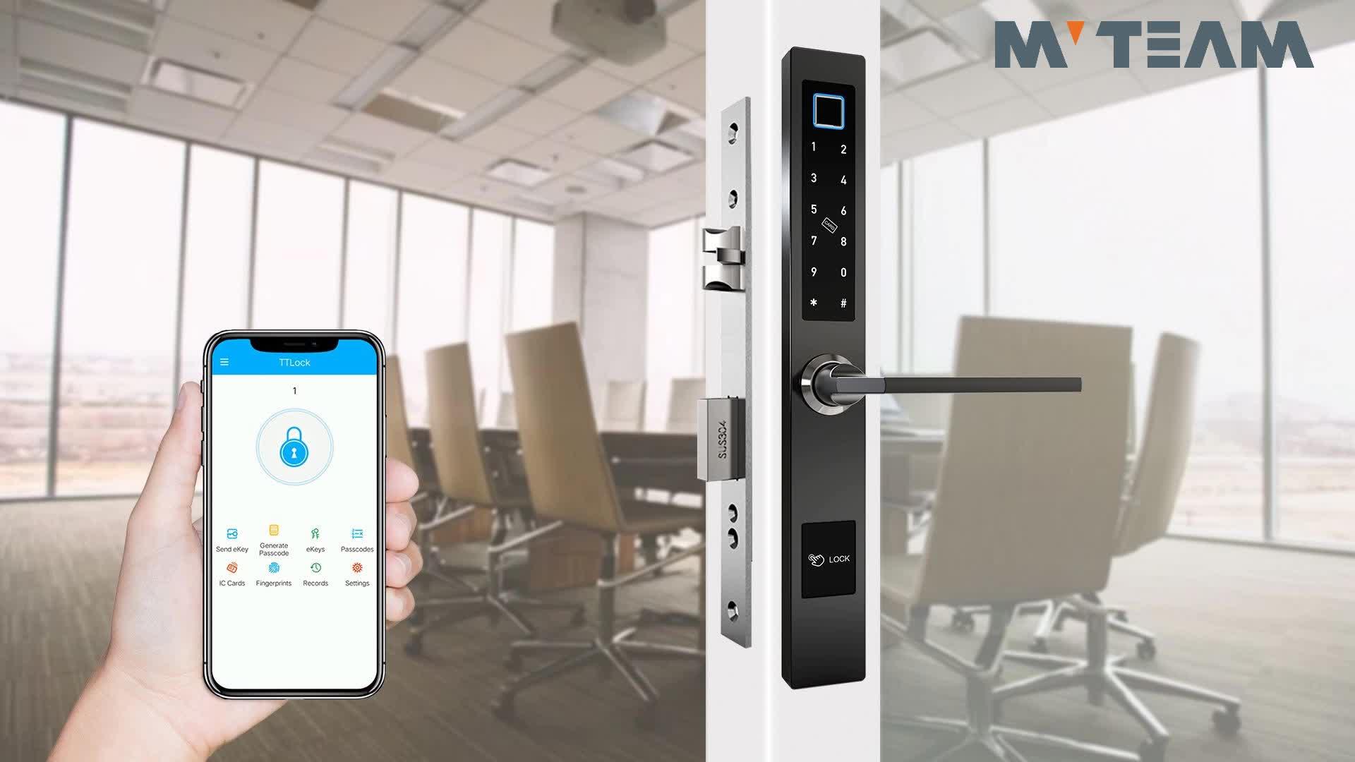 กันน้ำWiFi TTLock APPปลดล็อคระยะไกลสมาร์ทสไลด์ประตูดิจิตอลรหัสลายนิ้วมือไฟฟ้าเลื่อนกระจกล็อคประตูไม้