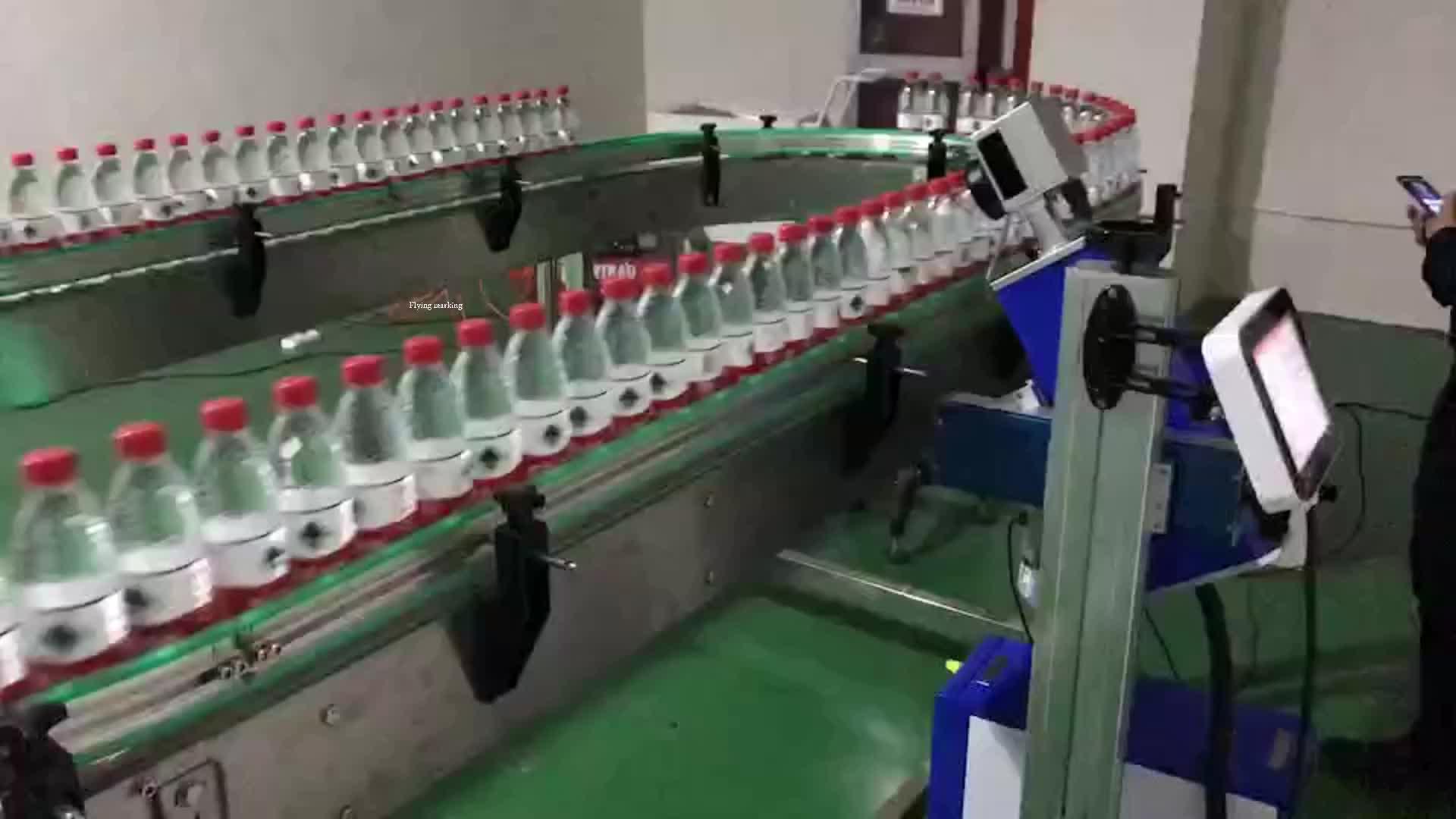 30 w Fiber laser Datum Printer voor Plastic Fles Vliegen Markering op Lijn