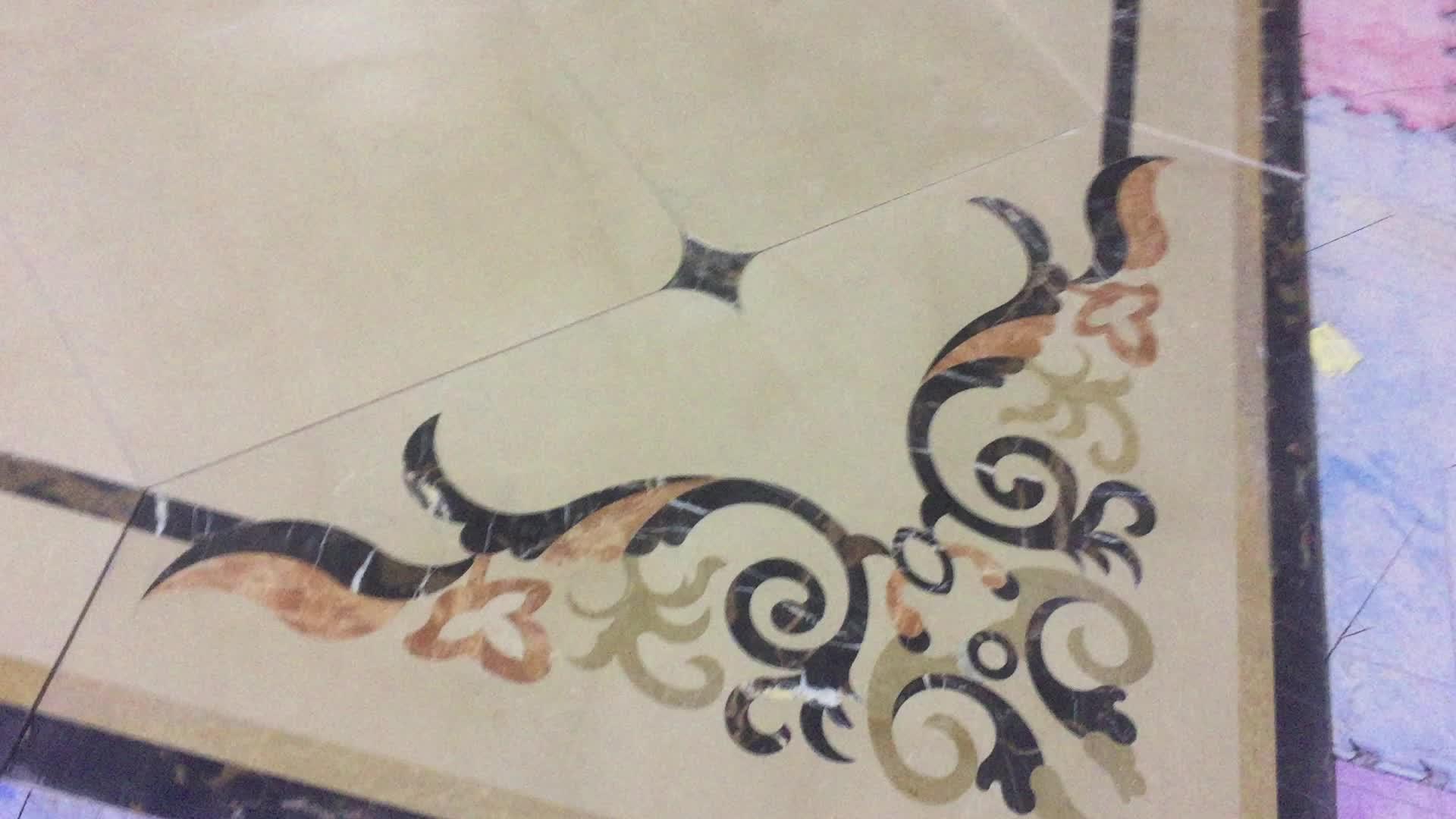 Natuurlijke marmeren foyer vloeren inlay vierkante waterstraal medaillon