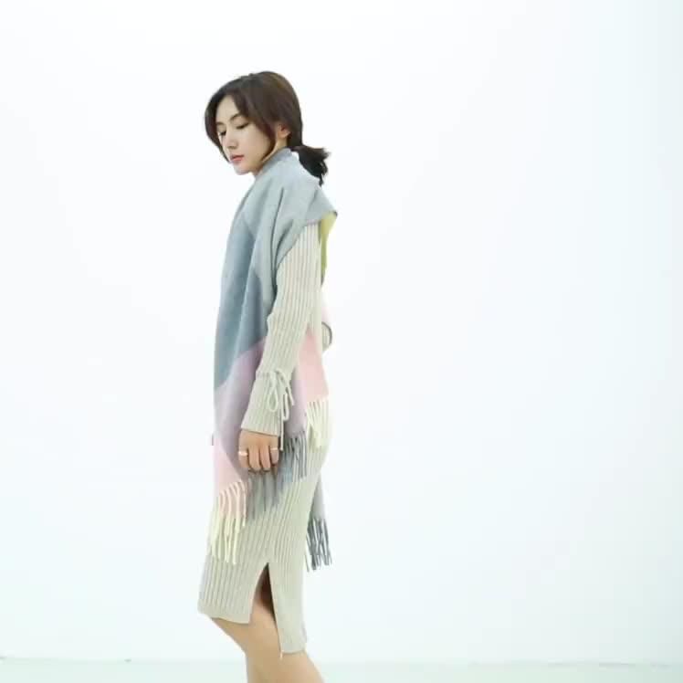 Women's Fashion Long Shawl Grid Plaid Winter Warm Lattice Large Scarf