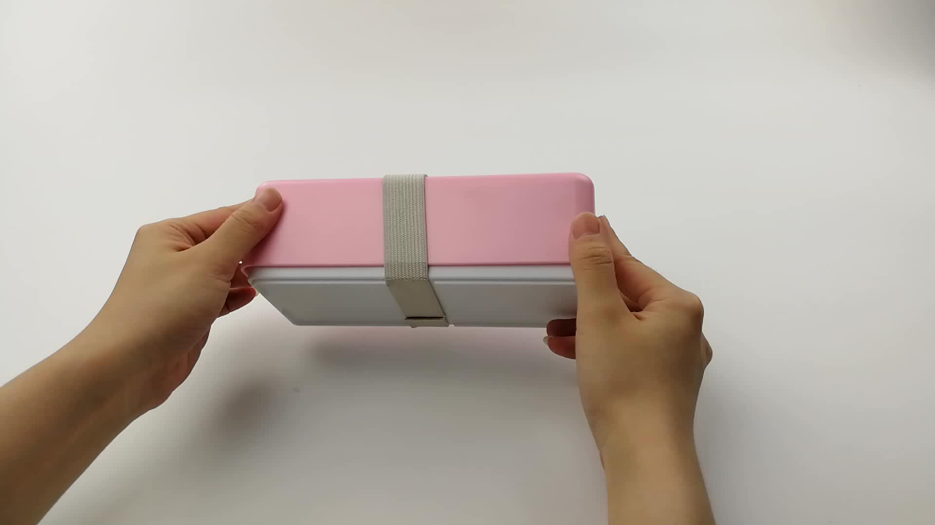 LULA 500 ml doble celosía apilable portátil japonés PP estudiante caja de Bento con tapa para Picnics Camping viaje