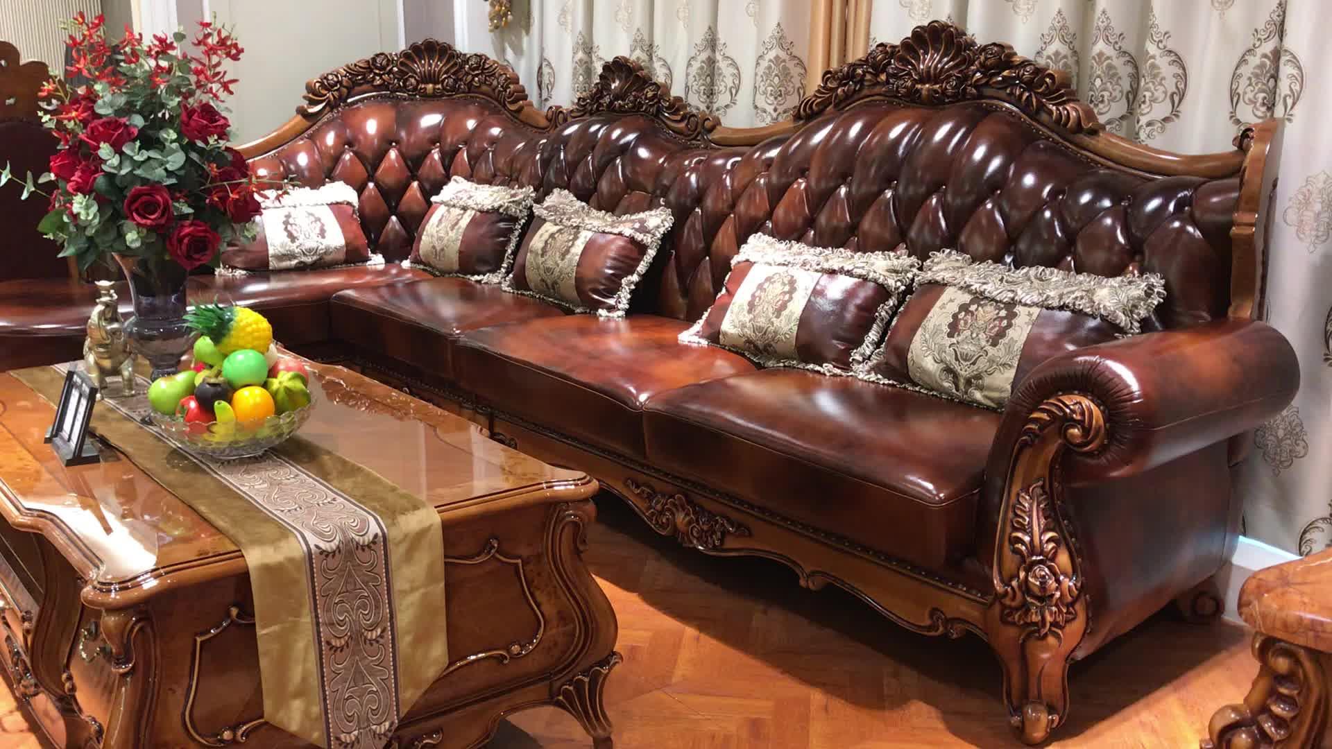 Classique de luxe de style Européen antique salon meubles L forme en bois massif ensemble de canapé d'angle en cuir